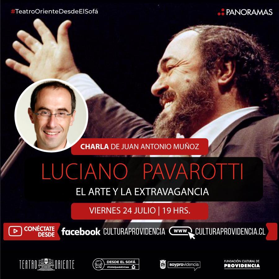 """charla """"Luciano Pavarotti, el arte y la extravagancia"""", dictada por el periodista, especialista en ópera, Juan Antonio Muñoz."""