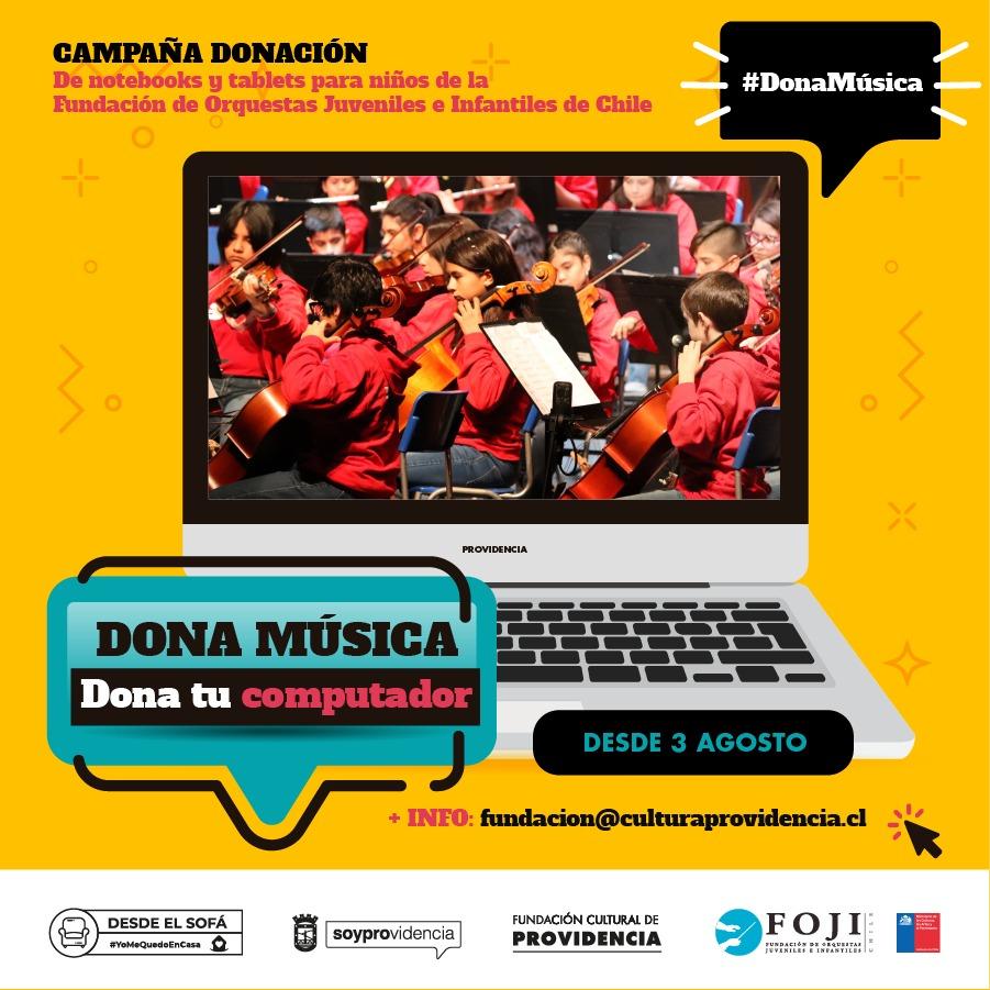 «Dona música, dona tu computador» para niños y jóvenes de la FOJI
